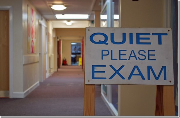 Quiet please. Exam.