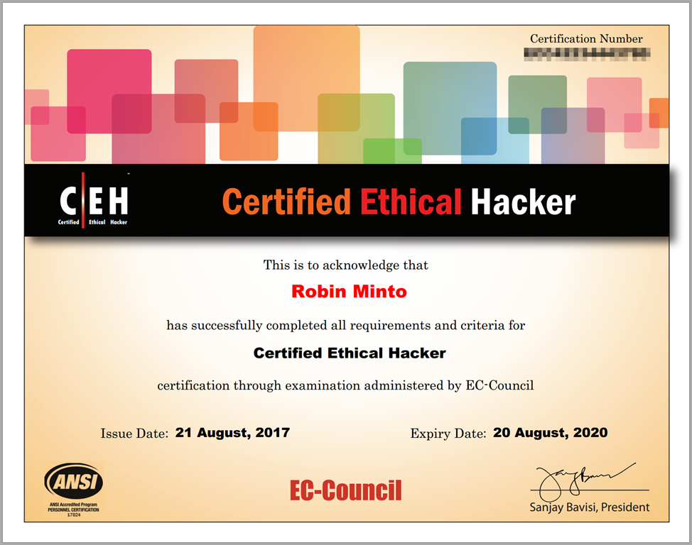 ceh certificate exam minto robin august result